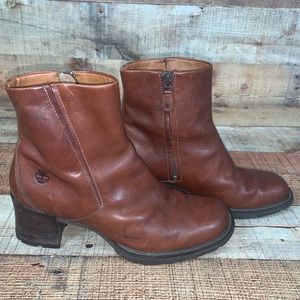 Timberland 8.5 Alyse Brown Leather Chunk Heel Boot